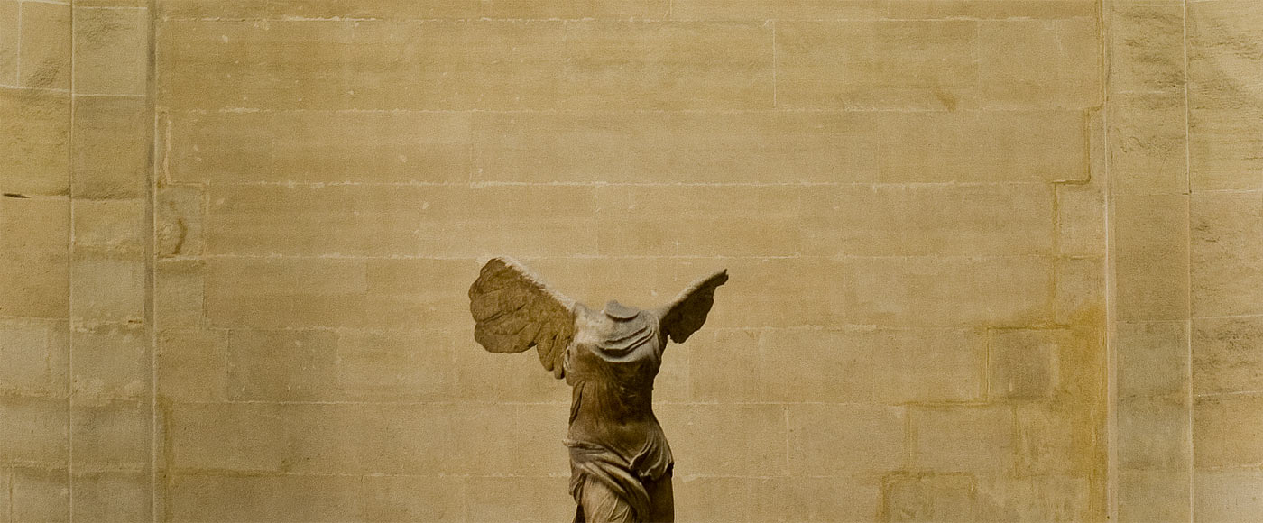 Distant shot of the winged nike of samothrace.