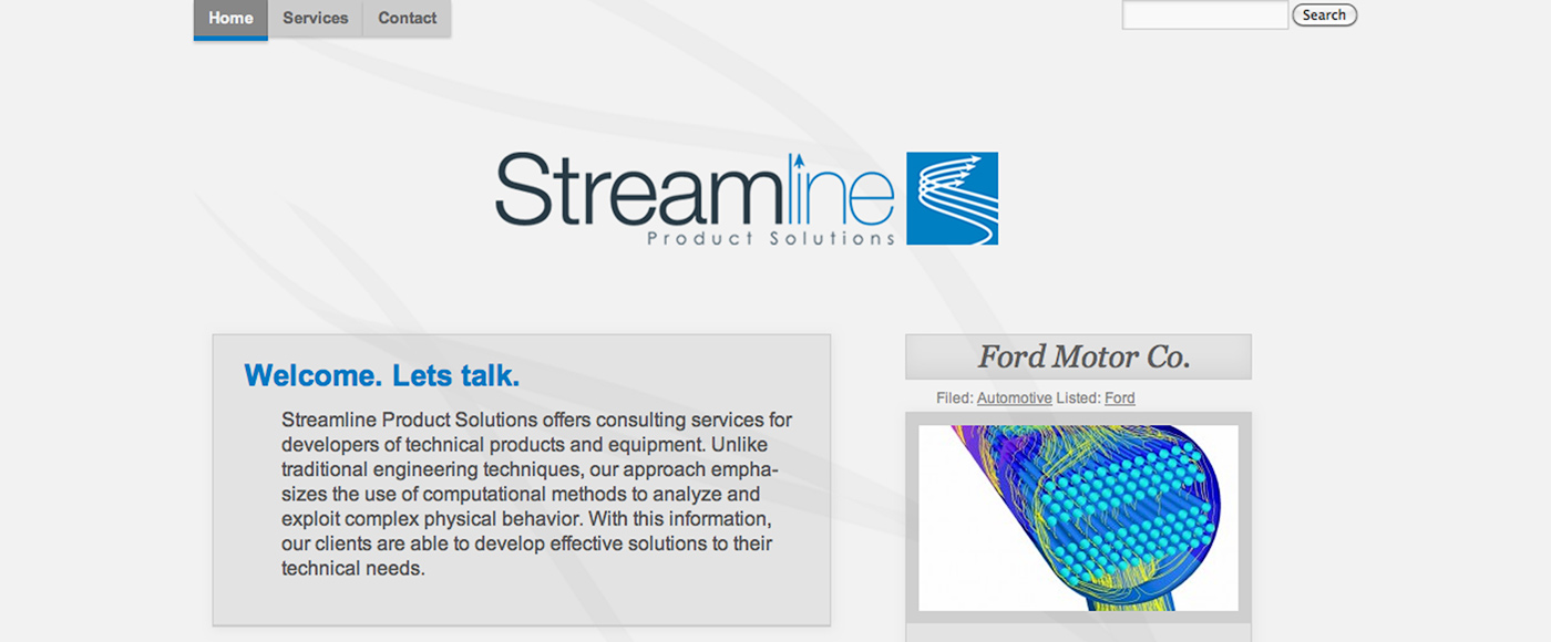 Streamline Product Solutions website front page.